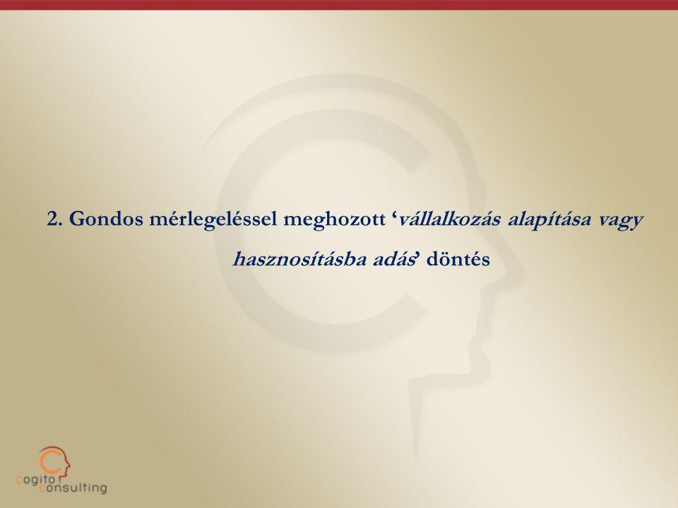 2. Gondos mérlegeléssel meghozott 'vállalkozás alapítása vagy hasznosításba adás' döntés