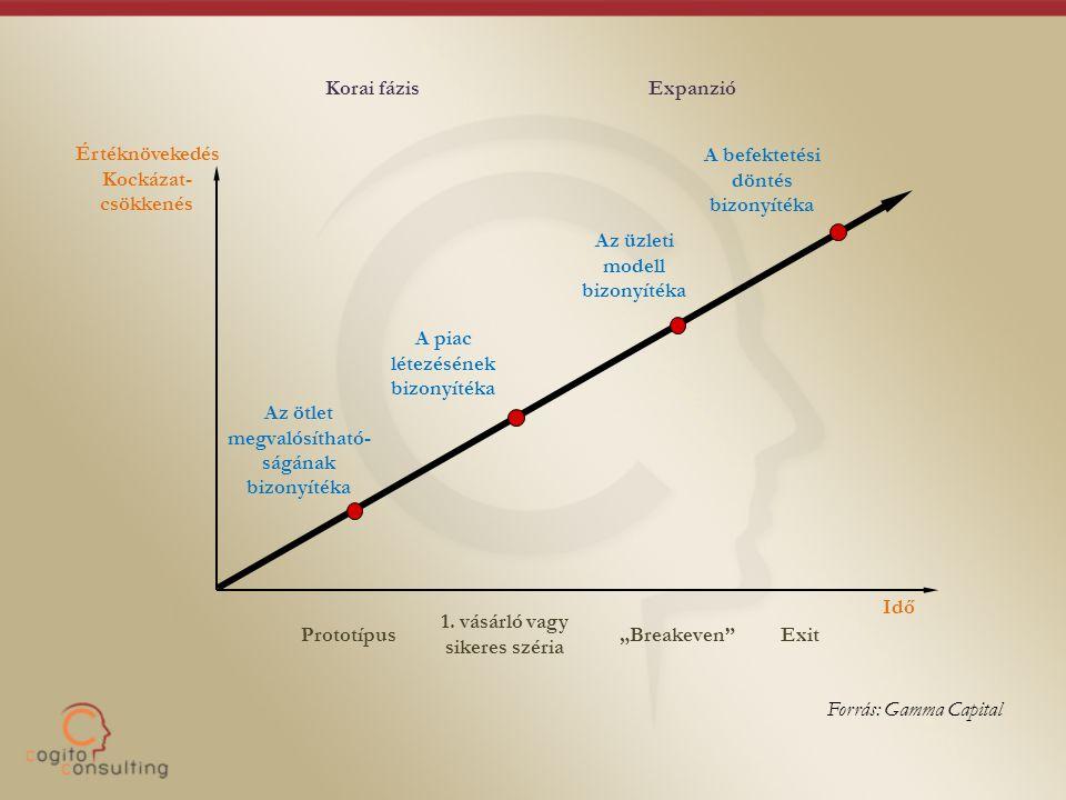 Értéknövekedés Kockázat- csökkenés Az ötlet megvalósítható- ságának bizonyítéka A piac létezésének bizonyítéka Az üzleti modell bizonyítéka A befektet