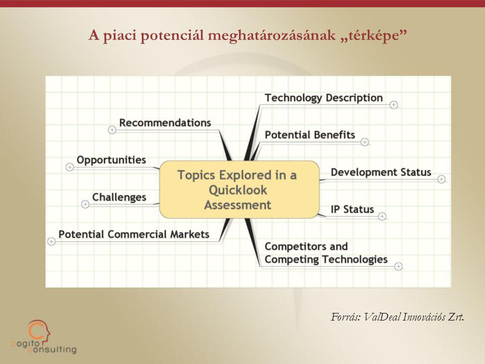 """A piaci potenciál meghatározásának """"térképe"""" Forrás: ValDeal Innovációs Zrt."""