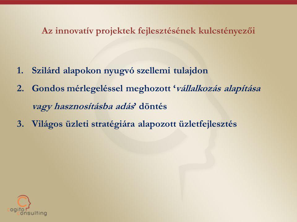 Az innovatív projektek fejlesztésének kulcstényezői 1.Szilárd alapokon nyugvó szellemi tulajdon 2.Gondos mérlegeléssel meghozott 'vállalkozás alapítás