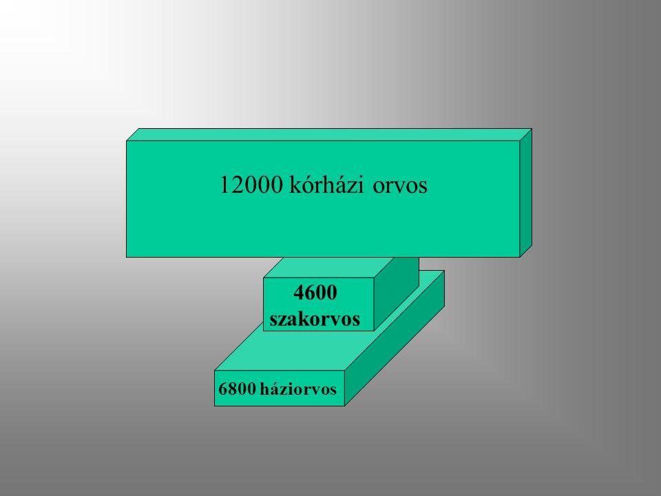 6800 háziorvos 4600 szakorvos 12000 kórházi orvos
