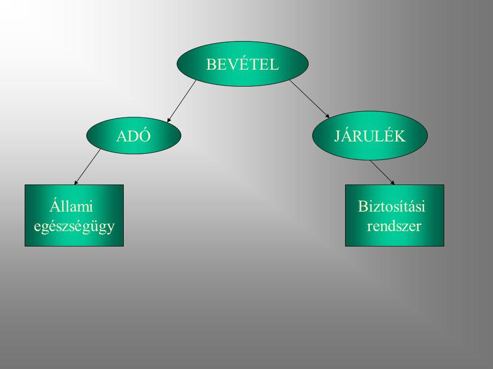BEVÉTEL ADÓ JÁRULÉK Állami egészségügy Biztosítási rendszer