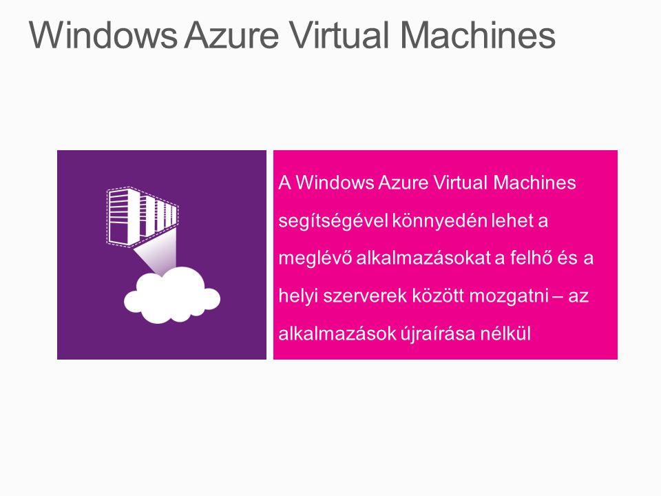 A Windows Azure Virtual Machines segítségével könnyedén lehet a meglévő alkalmazásokat a felhő és a helyi szerverek között mozgatni – az alkalmazások