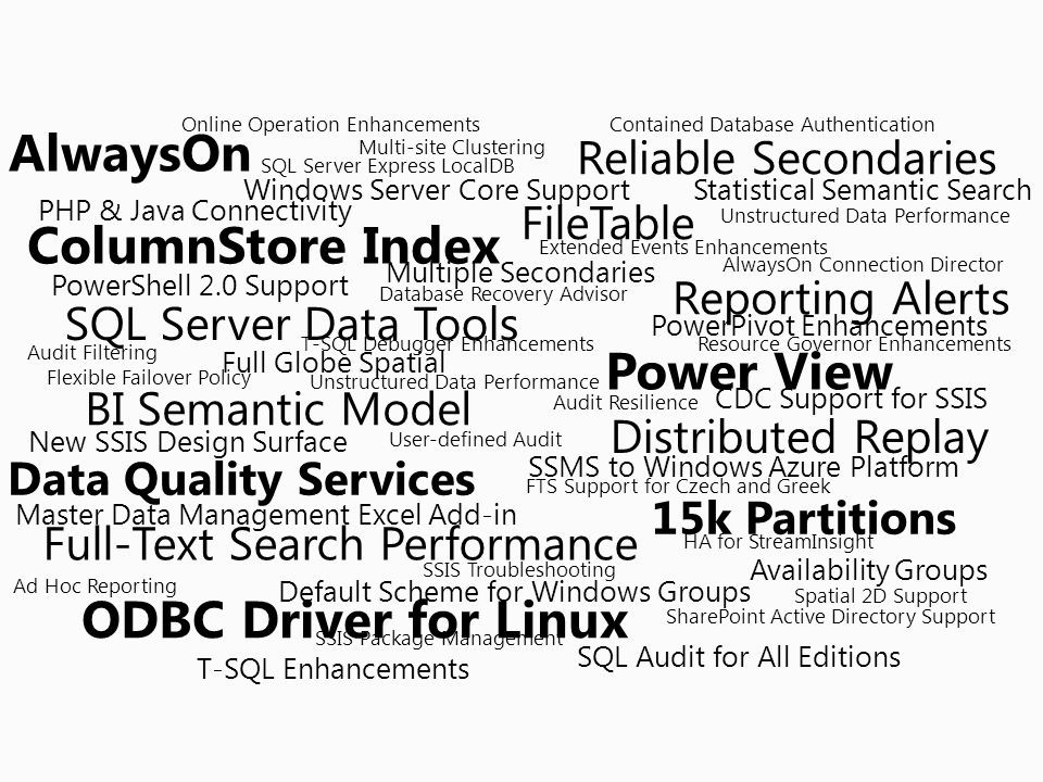 AlwaysOn Reliable Secondaries FileTable ColumnStore Index 15k Partitions SQL Server Data Tools Power View BI Semantic Model Data Quality Services Full