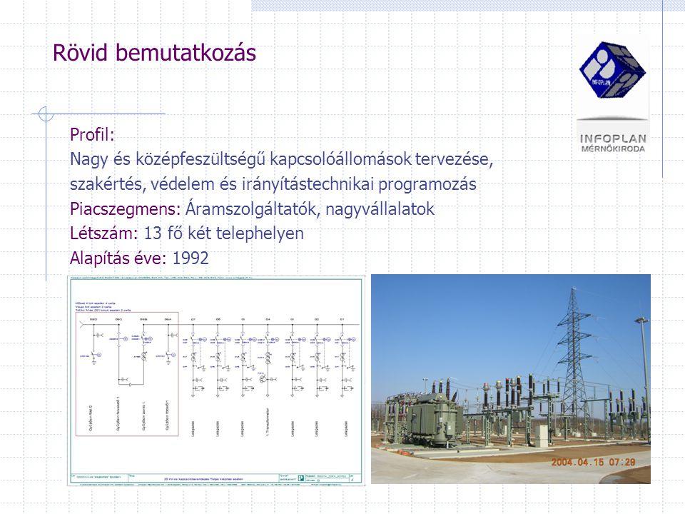 Rövid bemutatkozás Profil: Nagy és középfeszültségű kapcsolóállomások tervezése, szakértés, védelem és irányítástechnikai programozás Piacszegmens: Áramszolgáltatók, nagyvállalatok Létszám: 13 fő két telephelyen Alapítás éve: 1992