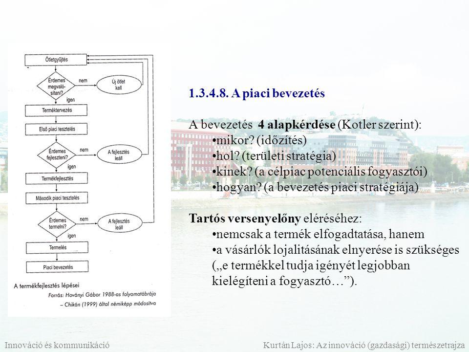 1.3.4.8. A piaci bevezetés A bevezetés 4 alapkérdése (Kotler szerint): mikor? (időzítés) hol? (területi stratégia) kinek? (a célpiac potenciális fogya