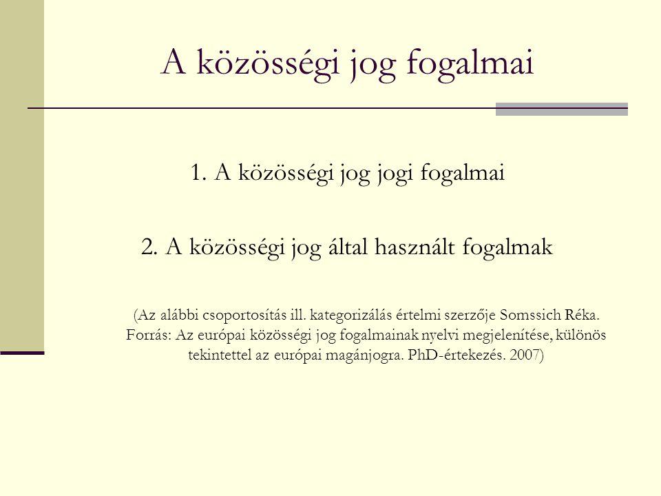 A közösségi jog jogi fogalmai 1.A közösségi jog saját fogalmai 2.