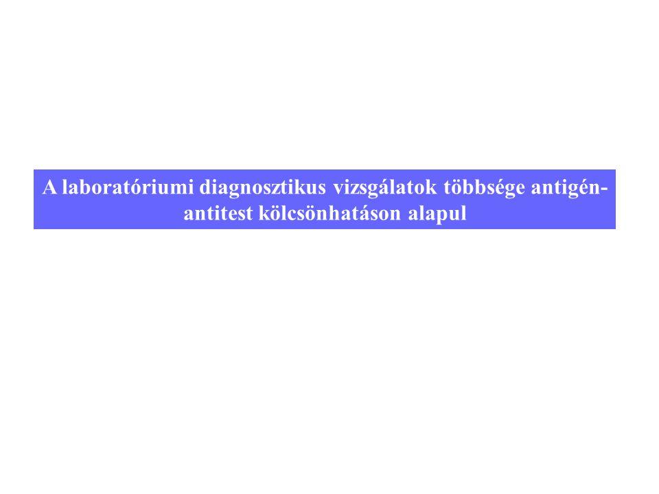22 A laboratóriumi diagnosztikus vizsgálatok többsége antigén- antitest kölcsönhatáson alapul
