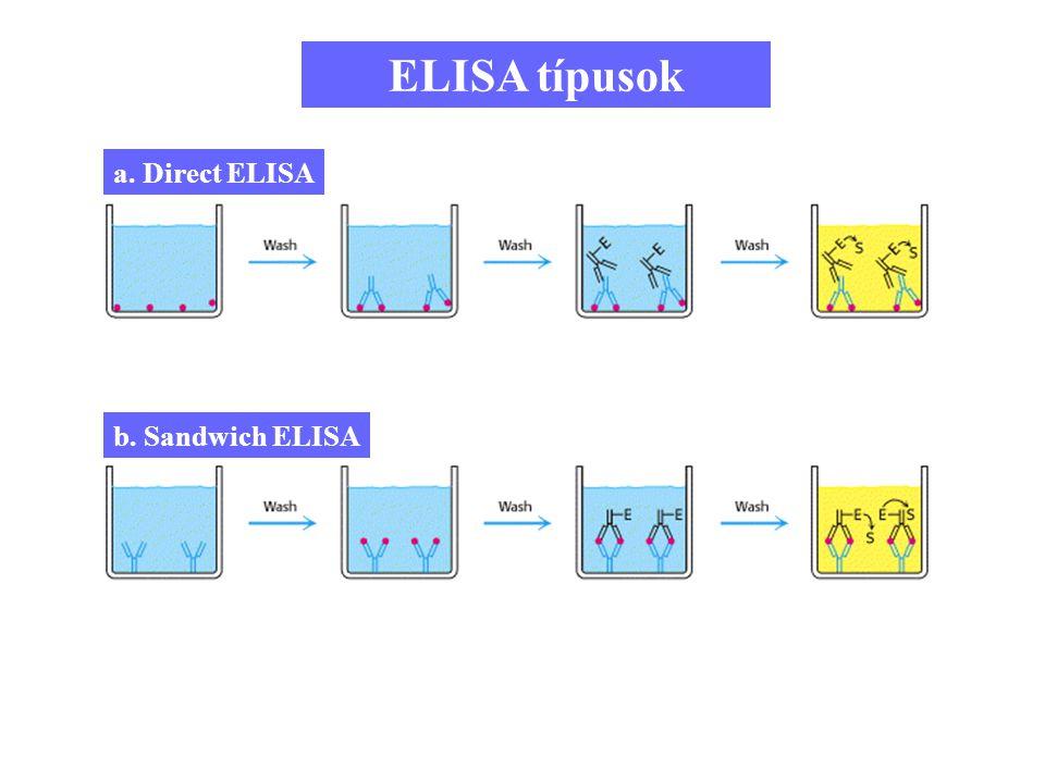 88 ELISA típusok a. Direct ELISA b. Sandwich ELISA
