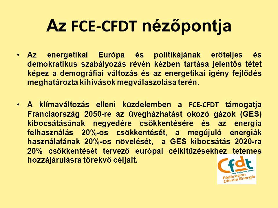 Az FCE-CFDT nézőpontja Az energetikai Európa és politikájának erőteljes és demokratikus szabályozás révén kézben tartása jelentős tétet képez a demogr