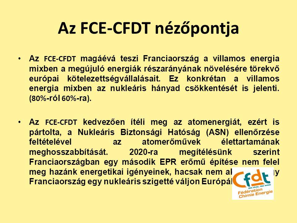 Az FCE-CFDT nézőpontja Az FCE-CFDT magáévá teszi Franciaország a villamos energia mixben a megújuló energiák részarányának növelésére törekvő európai