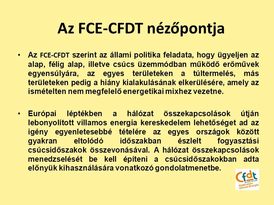 Az FCE-CFDT nézőpontja Az FCE-CFDT szerint az állami politika feladata, hogy ügyeljen az alap, félig alap, illetve csúcs üzemmódban működő erőművek eg