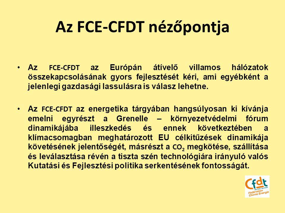 Az FCE-CFDT nézőpontja Az FCE-CFDT az Európán átívelő villamos hálózatok összekapcsolásának gyors fejlesztését kéri, ami egyébként a jelenlegi gazdasá