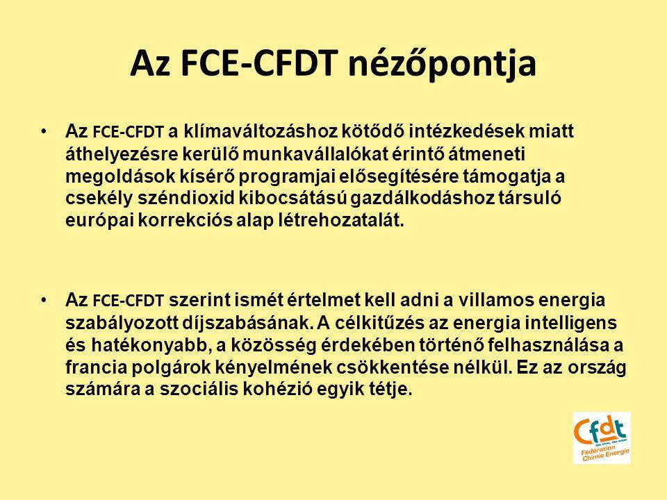 Az FCE-CFDT nézőpontja Az FCE-CFDT a klímaváltozáshoz kötődő intézkedések miatt áthelyezésre kerülő munkavállalókat érintő átmeneti megoldások kísérő