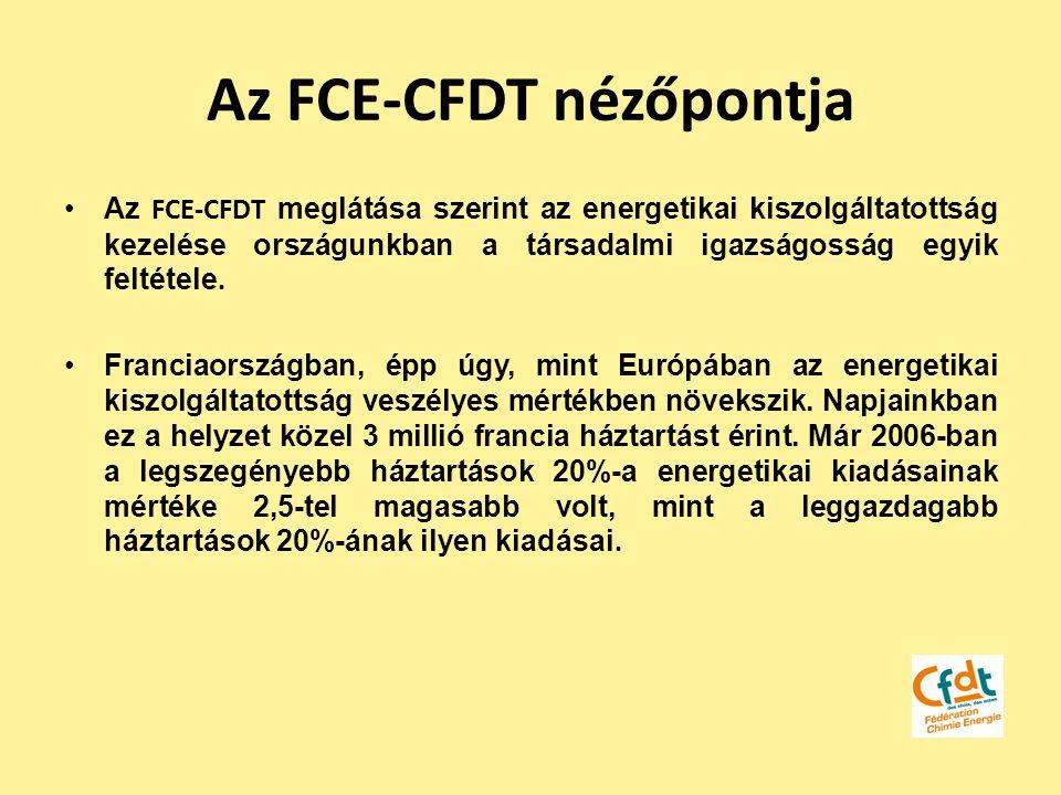 Az FCE-CFDT nézőpontja Az FCE-CFDT meglátása szerint az energetikai kiszolgáltatottság kezelése országunkban a társadalmi igazságosság egyik feltétele