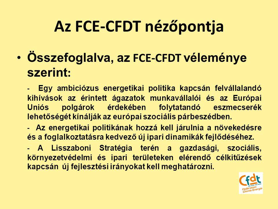 Az FCE-CFDT nézőpontja Összefoglalva, az FCE-CFDT véleménye szerint : - Egy ambiciózus energetikai politika kapcsán felvállalandó kihívások az érintet