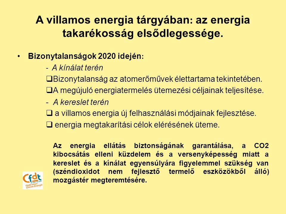 Bizonytalanságok 2020 idején : - A kínálat terén  Bizonytalanság az atomerőművek élettartama tekintetében.  A megújuló energiatermelés ütemezési cél