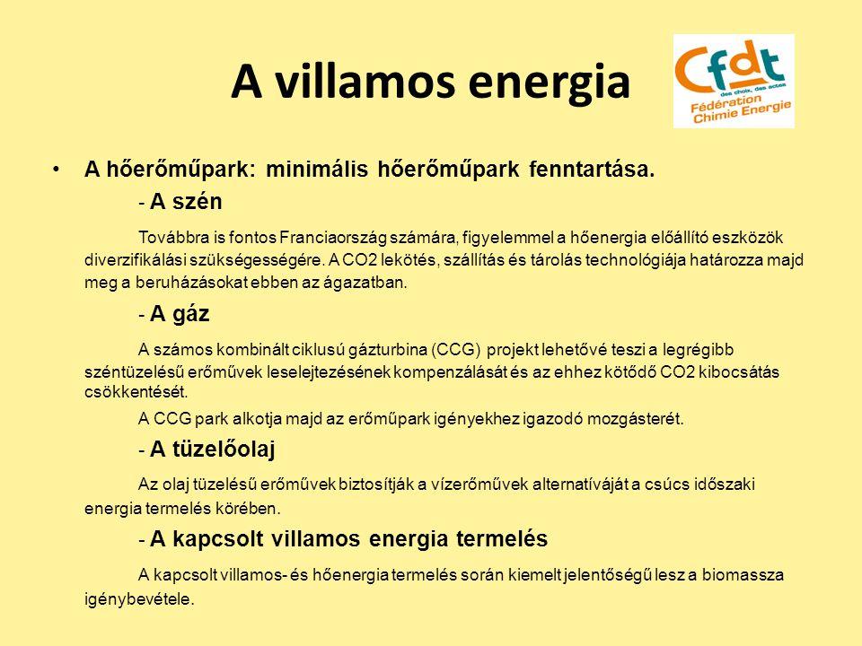 A villamos energia A hőerőműpark: minimális hőerőműpark fenntartása. - A szén Továbbra is fontos Franciaország számára, figyelemmel a hőenergia előáll