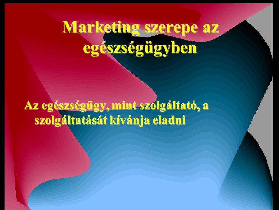 Marketing szerepe az egészségügyben Az egészségügy, mint szolgáltató, a szolgáltatását kívánja eladni