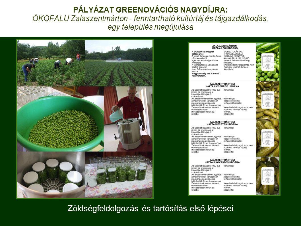 Zöldségfeldolgozás és tartósítás első lépései PÁLYÁZAT GREENOVÁCIÓS NAGYDÍJRA: ÖKOFALU Zalaszentmárton - fenntartható kultúrtáj és tájgazdálkodás, egy település megújulása