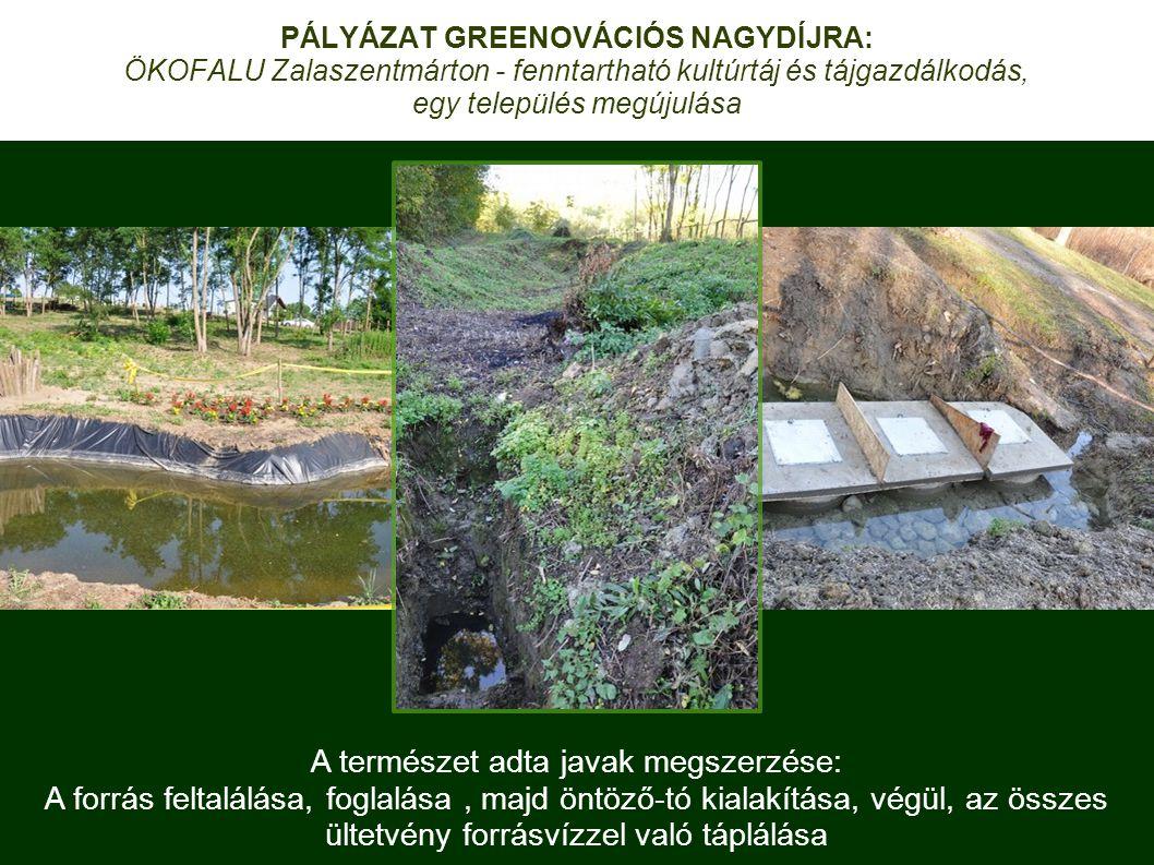 A természet adta javak megszerzése: A forrás feltalálása, foglalása, majd öntöző-tó kialakítása, végül, az összes ültetvény forrásvízzel való táplálása PÁLYÁZAT GREENOVÁCIÓS NAGYDÍJRA: ÖKOFALU Zalaszentmárton - fenntartható kultúrtáj és tájgazdálkodás, egy település megújulása