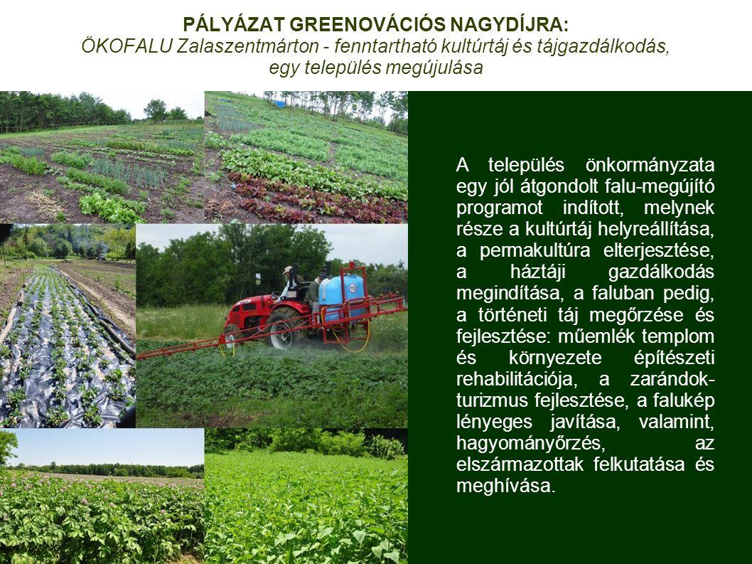 PÁLYÁZAT GREENOVÁCIÓS NAGYDÍJRA: ÖKOFALU Zalaszentmárton - fenntartható kultúrtáj és tájgazdálkodás, egy település megújulása A település önkormányzata egy jól átgondolt falu-megújító programot indított, melynek része a kultúrtáj helyreállítása, a permakultúra elterjesztése, a háztáji gazdálkodás megindítása, a faluban pedig, a történeti táj megőrzése és fejlesztése: műemlék templom és környezete építészeti rehabilitációja, a zarándok- turizmus fejlesztése, a falukép lényeges javítása, valamint, hagyományőrzés, az elszármazottak felkutatása és meghívása.