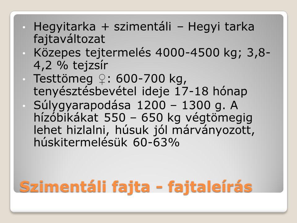 Szimentáli fajta - fajtaleírás Hegyitarka + szimentáli – Hegyi tarka fajtaváltozat Közepes tejtermelés 4000-4500 kg; 3,8- 4,2 % tejzsír Testtömeg ♀ :
