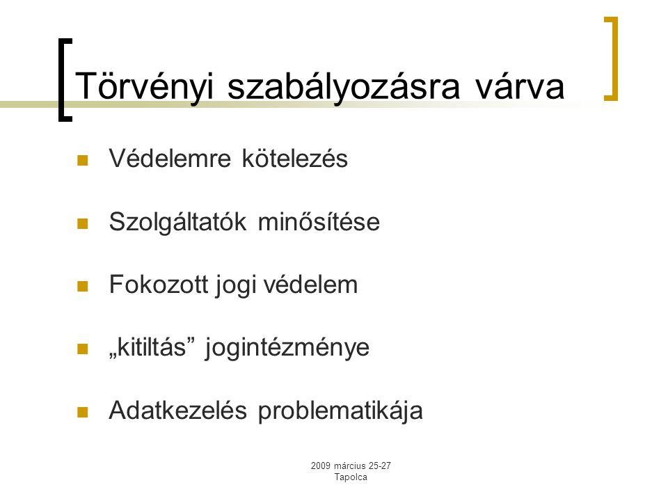 """2009 március 25-27 Tapolca Törvényi szabályozásra várva Védelemre kötelezés Szolgáltatók minősítése Fokozott jogi védelem """"kitiltás jogintézménye Adatkezelés problematikája"""