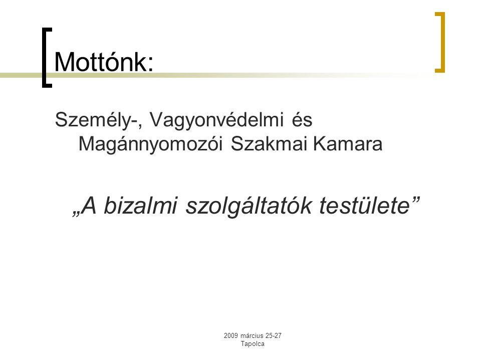 """2009 március 25-27 Tapolca Mottónk: Személy-, Vagyonvédelmi és Magánnyomozói Szakmai Kamara """"A bizalmi szolgáltatók testülete"""