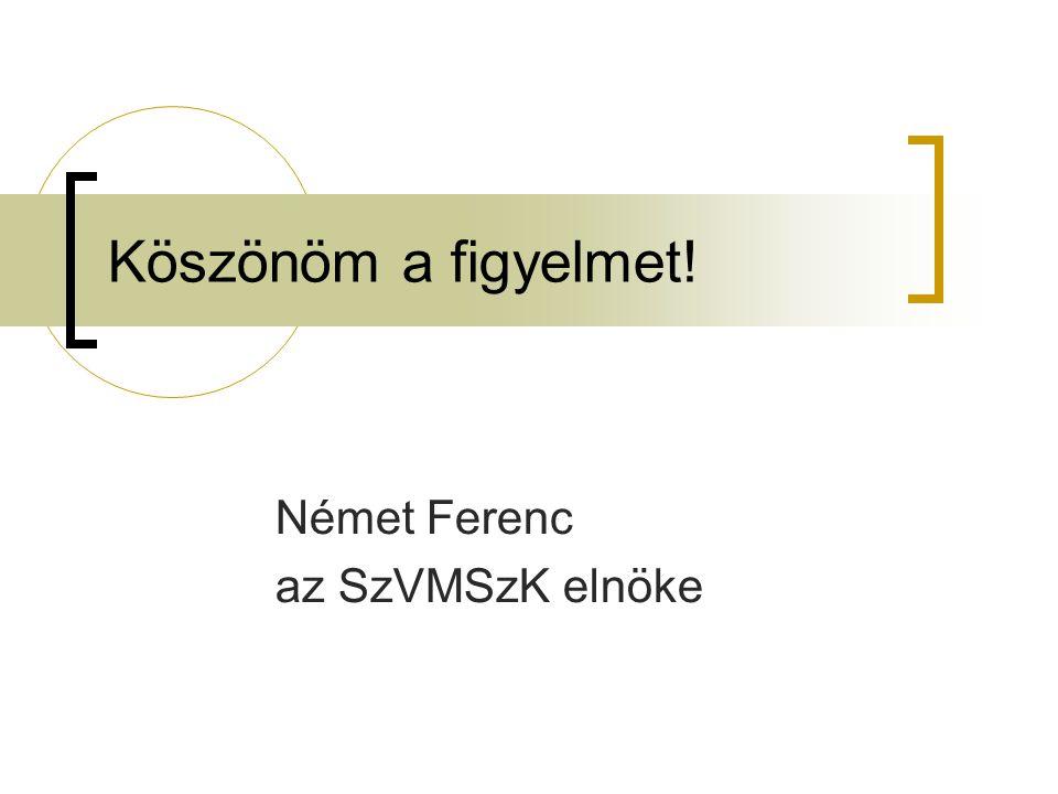Köszönöm a figyelmet! Német Ferenc az SzVMSzK elnöke