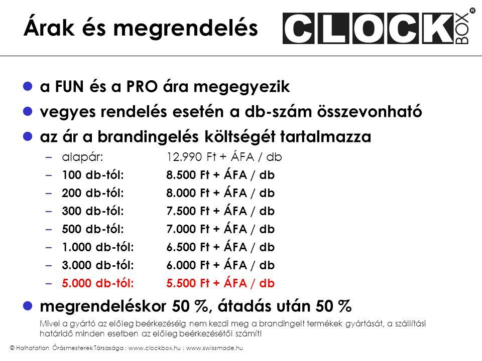 © Halhatatlan Órásmesterek Társasága ; www.clockbox.hu ; www.swissmade.hu Árak és megrendelés a FUN és a PRO ára megegyezik vegyes rendelés esetén a d