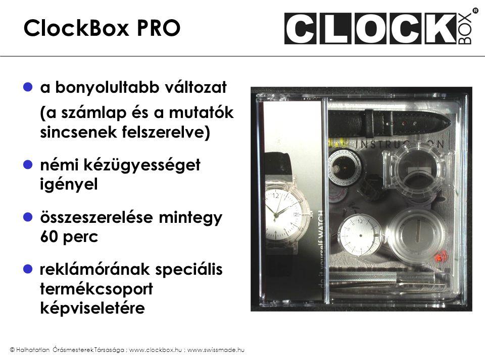 """© Halhatatlan Órásmesterek Társasága ; www.clockbox.hu ; www.swissmade.hu Különleges előnyök a számlap és a doboz szabadon tervezhető az átlátszó óratok lakkozható, a szíj színe változtatható már 50 db-tól egyedi megrendelés lehetséges két nehézségi fokozatban létezik (FUN és PRO) az összeszerelés mindössze 20 perc (FUN) tulajdonosa büszkén viseli (""""ÉN CSINÁLTAM!!! ) svájci óraszerkezet, minőségi alkatrészek, valódi bőr szíj megrendelési idő 6 – 8 hét dupla-CD formátumú dobozban egyedi, db-szám függő árak"""