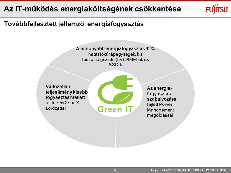 Az IT-működés energiaköltségének csökkentése Továbbfejlesztett jellemző: energiafogyasztás Copyright 2010 FUJITSU TECHNOLOGY SOLUTIONS Alacsonyabb ene