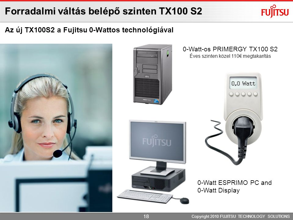 Forradalmi váltás belépő szinten TX100 S2 Copyright 2010 FUJITSU TECHNOLOGY SOLUTIONS Az új TX100S2 a Fujitsu 0-Wattos technológiával 0-Watt ESPRIMO P