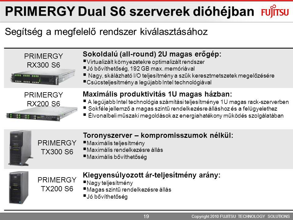 PRIMERGY Dual S6 szerverek dióhéjban Segítség a megfelelő rendszer kiválasztásához Copyright 2010 FUJITSU TECHNOLOGY SOLUTIONS Sokoldalú (all-round) 2