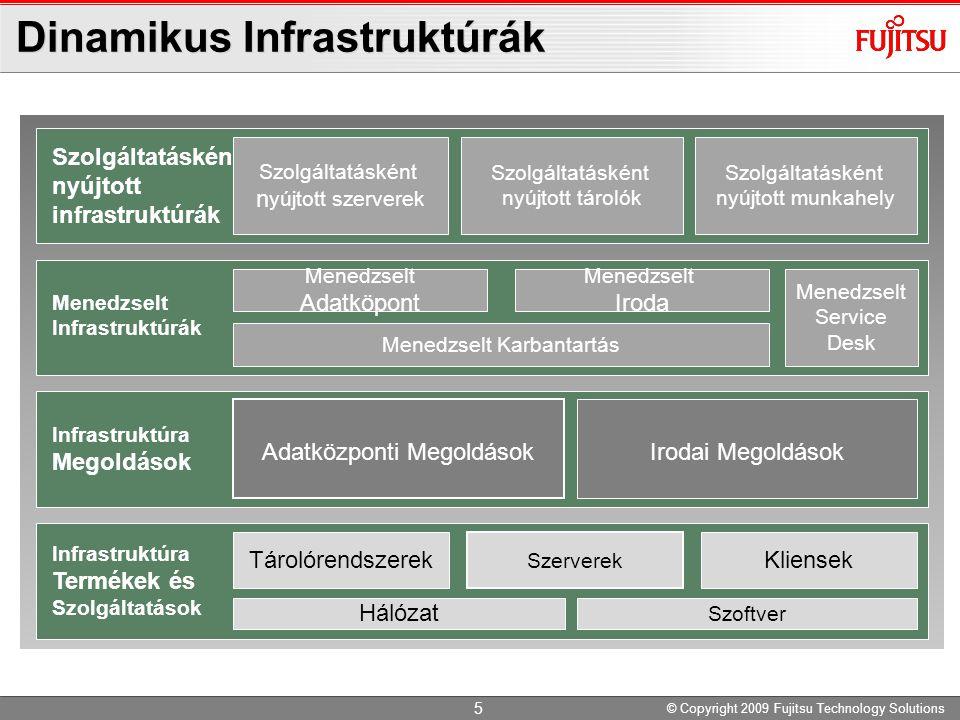Fujitsu Platform Termékei Méret High-end Mid-range Volume- range Mainframe UNIX Servers Linux/Windows Servers Linux/Windows Servers [MSP/XSP] [Solaris] [Linux/Windows] GS21 / PRIMEFORCE SPARC Enterprise PRIMEQUEST PRIMERGY Storage ETERNUS DX8000 ETERNUS DX60/DX80/DX90 ETERNUS DX400