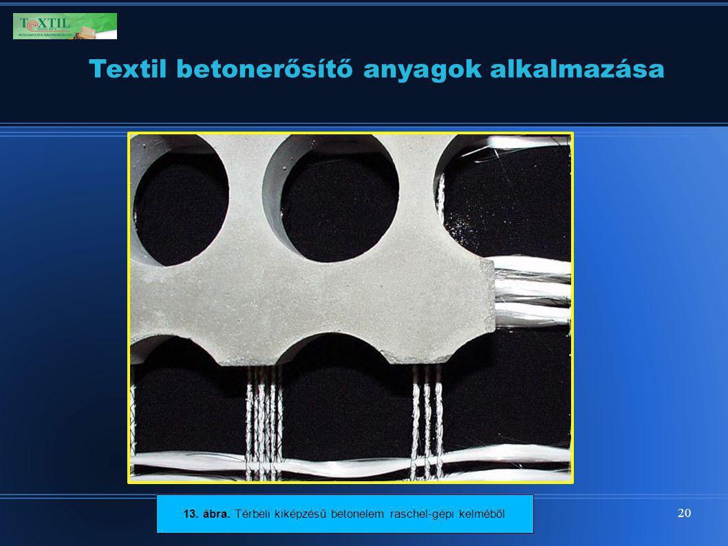 20 Textil betonerősítő anyagok alkalmazása 13. ábra. Térbeli kiképzésű betonelem raschel-gépi kelméből