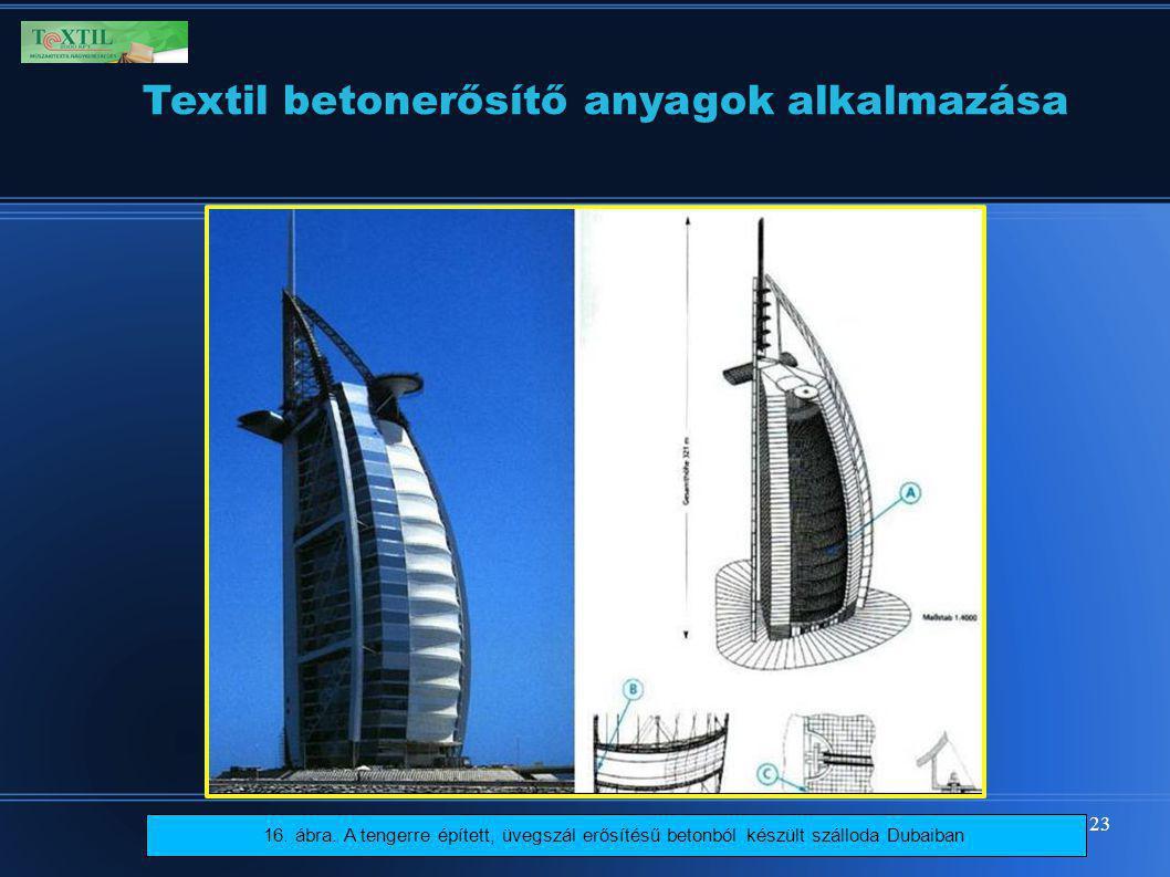 23 16. ábra. A tengerre épített, üvegszál erősítésű betonból készült szálloda Dubaiban Textil betonerősítő anyagok alkalmazása