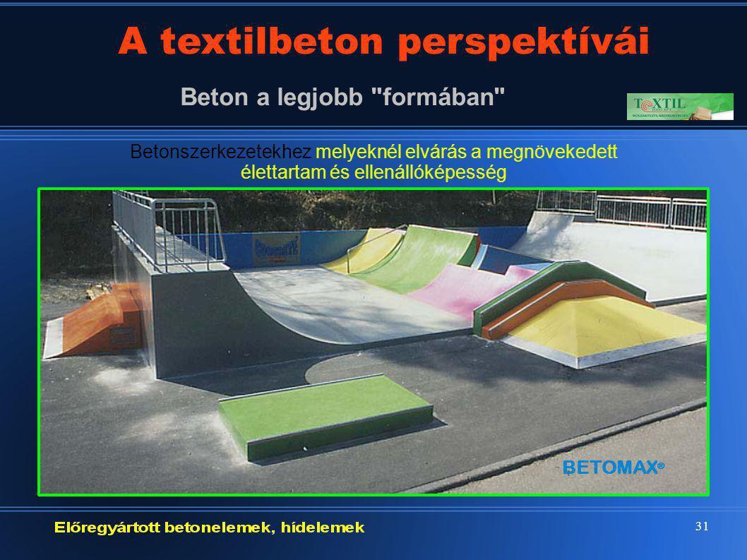 31 A textilbeton perspektívái Beton a legjobb