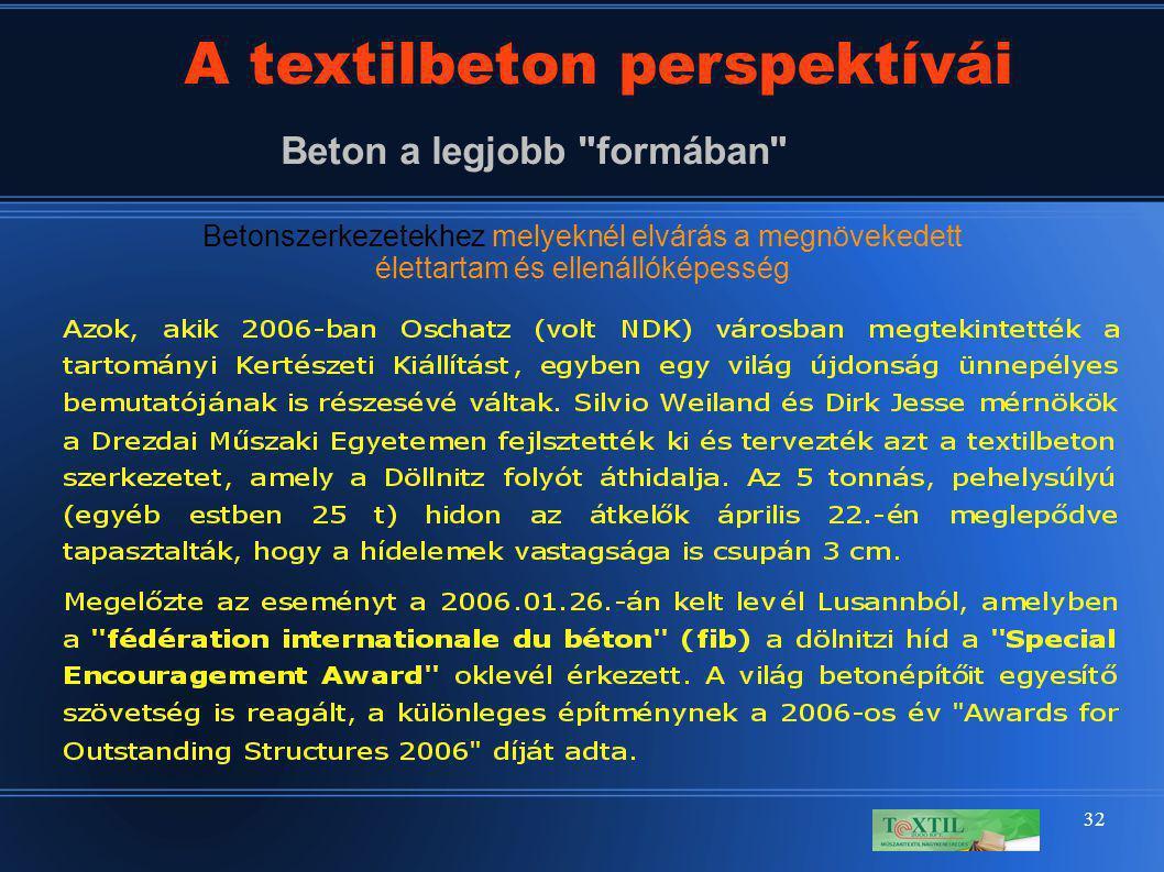 32 A textilbeton perspektívái Beton a legjobb