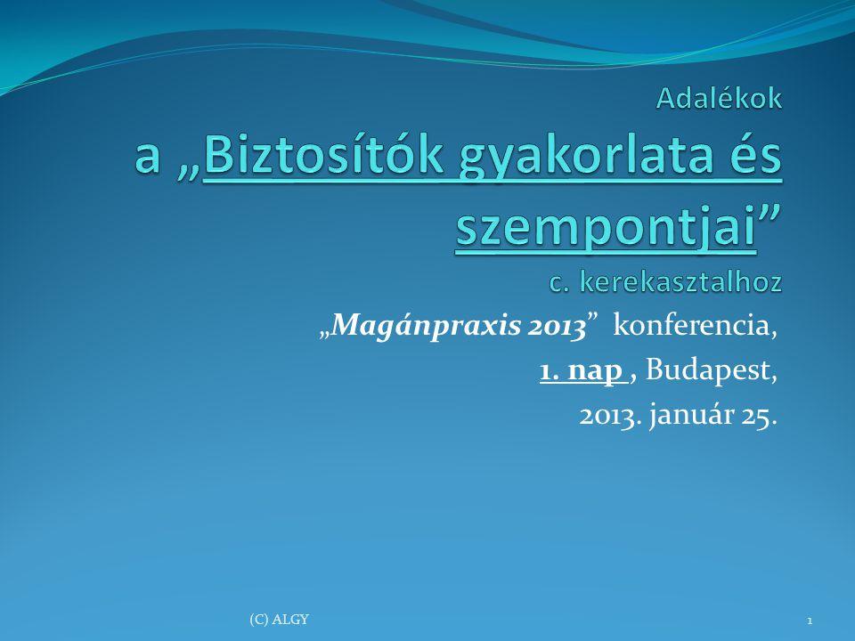 """Magánpraxis 2013 konferencia, 1. nap, Budapest, 2013. január 25. (C) ALGY1"