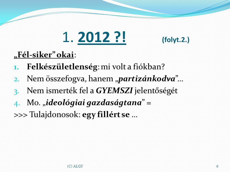 """1. 2012 ?. (folyt.2.) """"Fél-siker okai: 1. Felkészületlenség: mi volt a fiókban."""