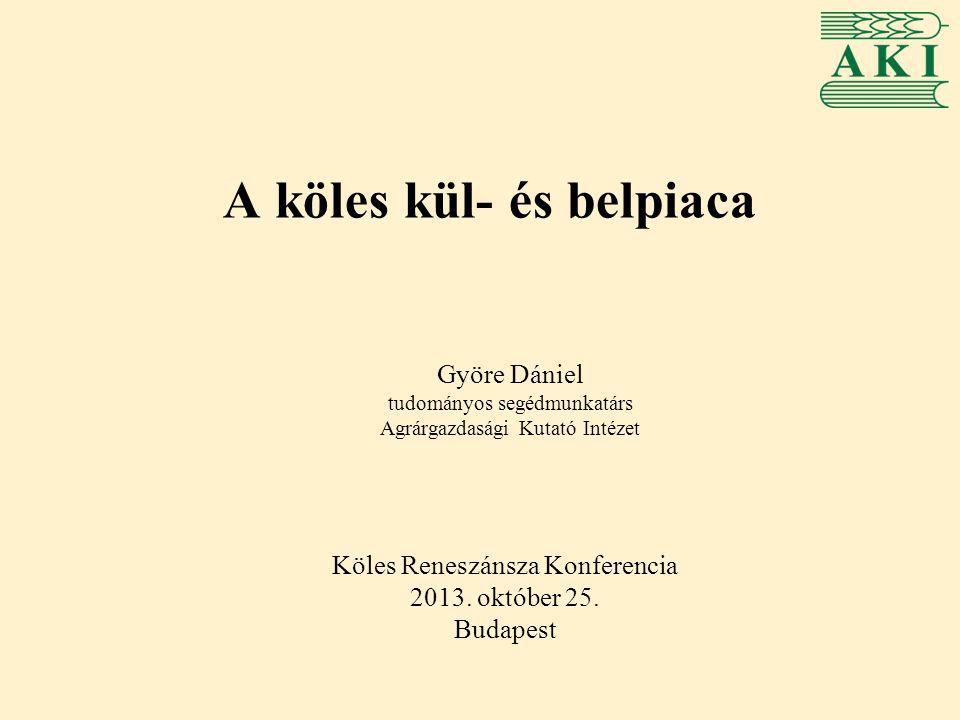 Magyarország köles termelése -Éves szinten 6-14 ezer hektáron termesztenek kölest, elsősorban Dél-Alföldön, valamint a közép- és észak- magyarországi régiókban -Egyre jelentősebb az ökológiai termesztés aránya -A termésátlagok szórása éves és régiós szinten is magas