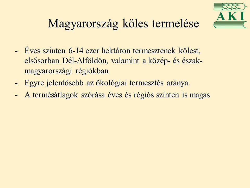 Magyarország köles termelése -Éves szinten 6-14 ezer hektáron termesztenek kölest, elsősorban Dél-Alföldön, valamint a közép- és észak- magyarországi