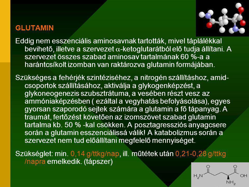 GLUTAMIN Eddig nem esszenciális aminosavnak tartották, mivel táplálékkal bevihető, illetve a szervezet  -ketoglutarátból elő tudja állítani.