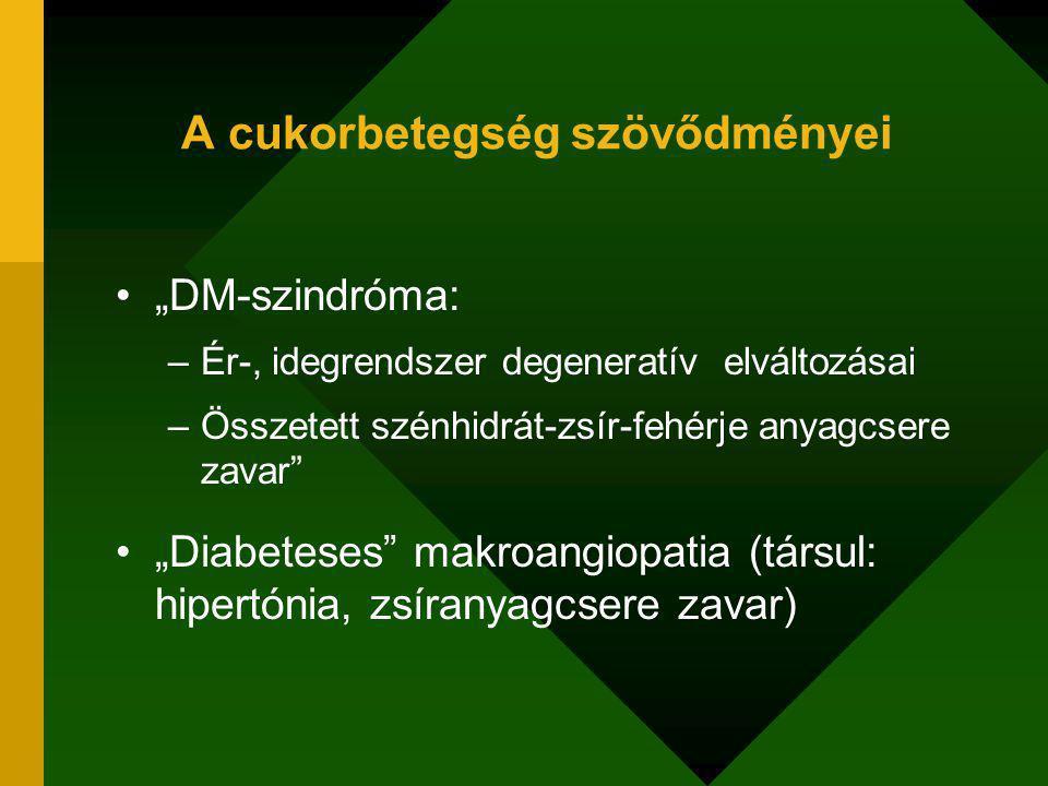 """A cukorbetegség szövődményei """"DM-szindróma: –Ér-, idegrendszer degeneratív elváltozásai –Összetett szénhidrát-zsír-fehérje anyagcsere zavar """"Diabeteses makroangiopatia (társul: hipertónia, zsíranyagcsere zavar)"""