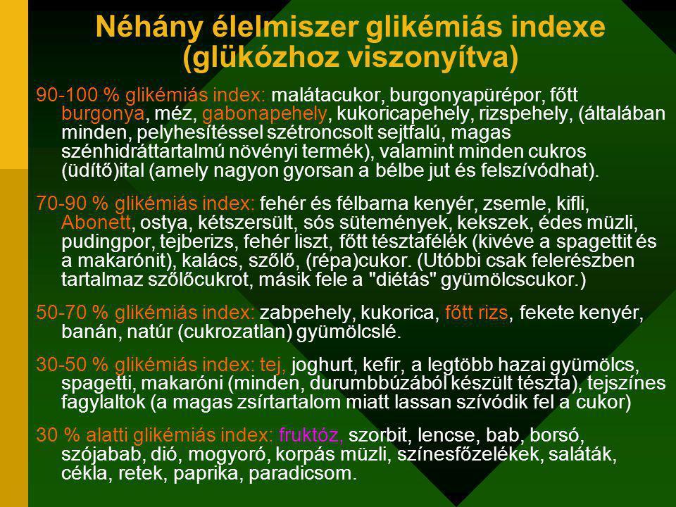 Néhány élelmiszer glikémiás indexe (glükózhoz viszonyítva) 90-100 % glikémiás index: malátacukor, burgonyapürépor, főtt burgonya, méz, gabonapehely, kukoricapehely, rizspehely, (általában minden, pelyhesítéssel szétroncsolt sejtfalú, magas szénhidráttartalmú növényi termék), valamint minden cukros (üdítő)ital (amely nagyon gyorsan a bélbe jut és felszívódhat).