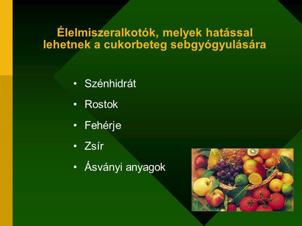 Élelmiszeralkotók, melyek hatással lehetnek a cukorbeteg sebgyógyulására Szénhidrát Rostok Fehérje Zsír Ásványi anyagok
