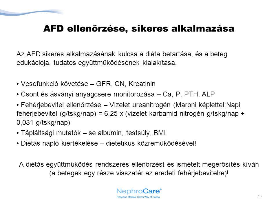 10 AFD ellenőrzése, sikeres alkalmazása Az AFD sikeres alkalmazásának kulcsa a diéta betartása, és a beteg edukációja, tudatos együttműködésének kiala