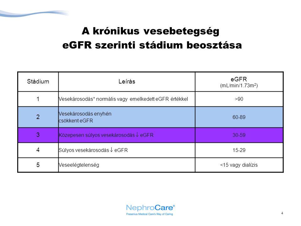 4 A krónikus vesebetegség eGFR szerinti stádium beosztása StádiumLeírás eGFR (mL/min/1.73m 2 ) 1 Vesekárosodás* normális vagy emelkedett eGFR értékkel